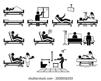 Patient at hospital room with many facilities stick figure pictogram icons. Vector illustrations of patient, hospital bed, window, television, nurse, wifi, visitor, food serving, toilet and bathroom.