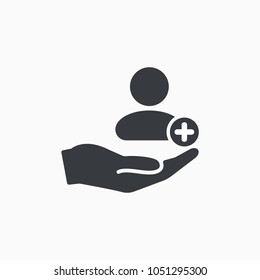 Patient icon. Customer icon with add, additional sign. Patient icon and new, plus, positive symbol. Vector icon