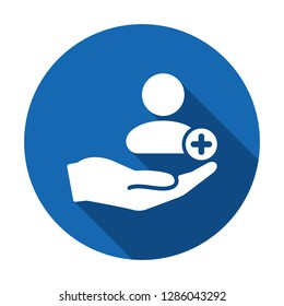 Patient icon. Customer icon with add, additional sign. Patient icon and new, plus, positive symbol. Icon, patient, customer, extra, care, create, new, safety, support, client, person