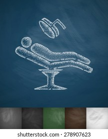 patient at icon. Hand drawn vector illustration. Chalkboard Design