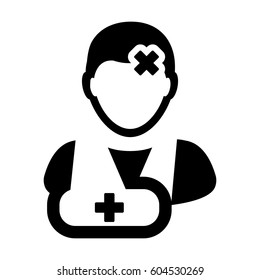 Patient Icon - Injury Medical Aid Treatment & Health-care Glyph Vector illustration