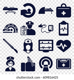 Patient icons set. set of 16 patient filled icons such as heartbeat, MRI, heartbeat clipboard, nurse, medical kit, scalpel, injured finger, first aid kit, doctor prescription