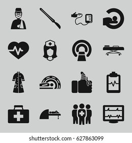 Patient icons set. set of 16 patient filled icons such as heartbeat, first aid kit, MRI, heartbeat clipboard, nurse, man with broken arm, scalpel, injured finger, nurse gown