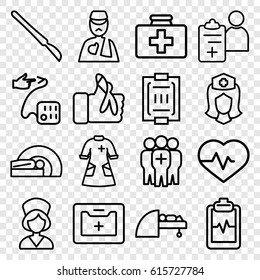Patient icons set. set of 16 patient outline icons such as heartbeat, first aid kit, heartbeat clipboard, nurse, medical kit, man with broken arm, scalpel