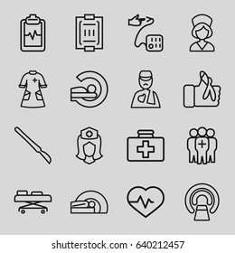 Patient icons set. set of 16 patient outline icons such as heartbeat, first aid kit, mri, heartbeat clipboard, nurse, man with broken arm, scalpel, blood pressure measure