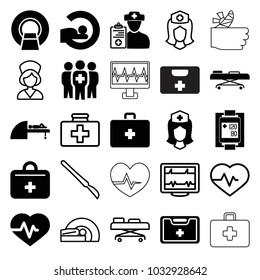 Patient icons. set of 25 editable filled and outline patient icons such as heartbeat, mri, nurse, medical kit, blood pressure measure, medical group, first aid kit