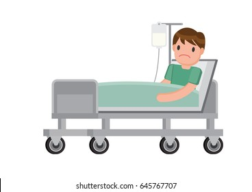 Patient lying in hospital bed with drop counter. Hospitalization of the patient. A sick person is in a bed . Vector