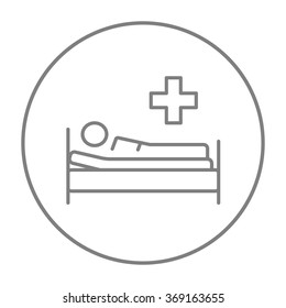 Patient lying on bed line icon.