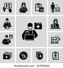 Patient medical record vector icons