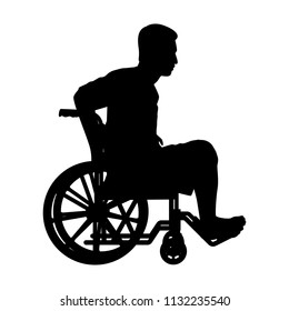 Patient on wheelchair silhouette vector