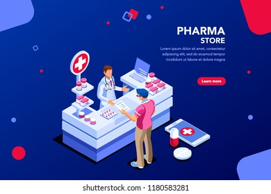 Patient and pharmacist doctor infographic, healthy recipe element, medicament for aid, professional medication. Computer and pills banner. Images of client at shop. Flat isometric Vector illustration.