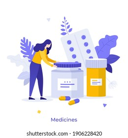 Patient and pills or meds in blisters and jars. Concept of medication, medicament, medicine, pharmaceutical drug, medical treatment, pharmacology. Modern flat vector illustration for banner, poster.