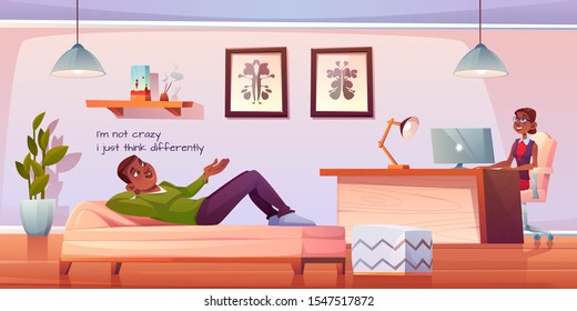 Patient in psychologist, psychotherapist office. Man lying on couch talking to woman practitioner sitting at table in cabinet. Psychiatrist session in mental health clinic. Cartoon vector illustration