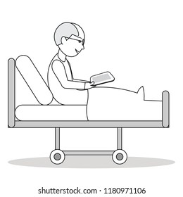 Patient sitting on a hospital clinic bed looking at tablet screen