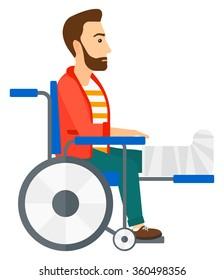 Patient sitting in wheelchair.