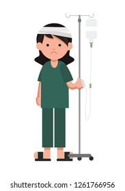 Patient standing with intravenous saline solution. Sick woman standing with  intravenous dropper line. Flat vector.