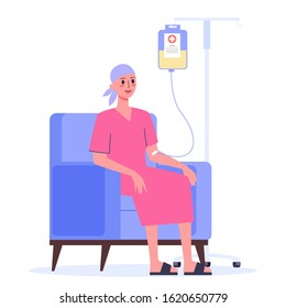 Patient suffer from cancer disease. Female character oncology patient with a dropper getting a chemo. Idea of healthcare, oncology illness and medicine treatment. Vector illustration in cartoon style
