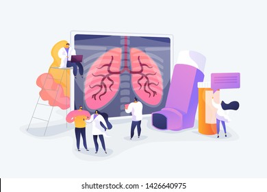 Patient suffering from allergic asthma symptoms. Pneumonia treatment. Obstructive pulmonary disease, chronic bronchitis, emphysema concept. Vector isolated concept creative illustration