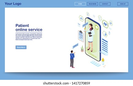 Patient support online service isometric homepage template. Remote medical consultant prescribing pills. Traumatologist consulting client via internet. Telemedicine technology mobile app promo webpage