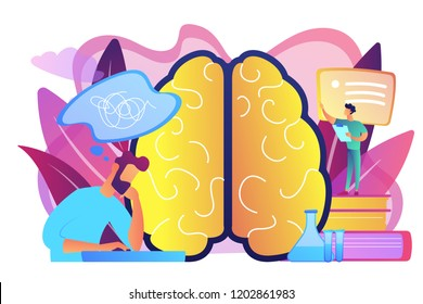 Patient with thought bubble and doctor examining brain. Alzheimer disease and dementia, dotage and memory loss concept on white background. Bright vibrant violet vector isolated illustration