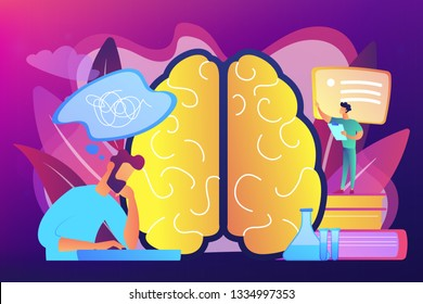 Patient with thought bubble and doctor examining brain. Alzheimer disease and dementia, dotage and memory loss concept on ultraviolet background. Bright vibrant violet vector isolated illustration
