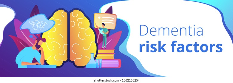 Patient with thought bubble and doctor examining brain. Alzheimer disease and dementia, dotage and memory loss concept on white background. Header or footer banner template with copy space.