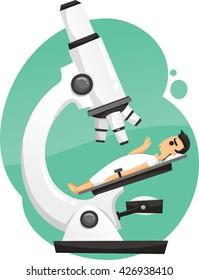 patient under microscope cartoon illustration