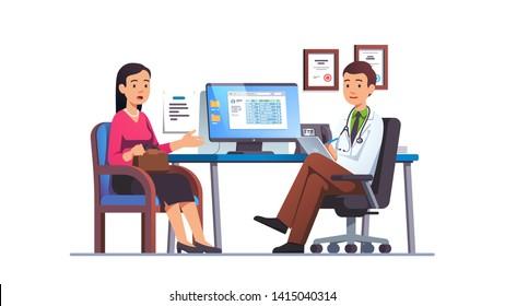 Mujer paciente hablando con un médico de atención primaria en la oficina del hospital. Reunión de cita clínica con el médico, conversando con el médico sobre los resultados de la revisión. Ilustración de caracteres vectoriales planos
