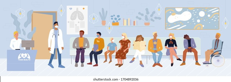 Patients, disabled person sitting in waiting room, expecting doctor appointment time at emergency hospital, private clinic. Men, woman, child in masks wanting to undergo tests vector illustration.