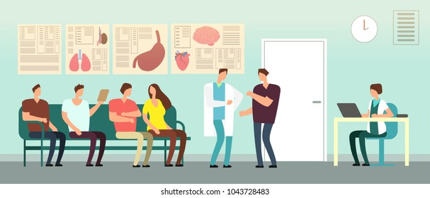 Patients and doctor in hospital waiting room. Disabled people at doctors office. Healthcare vector concept. Hospital and patient with doctor, interior medical clinic illustration