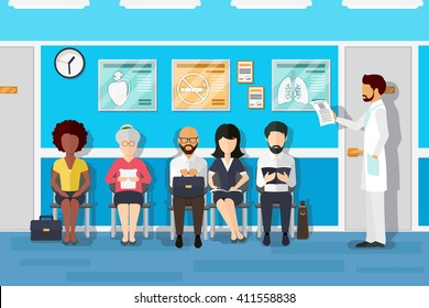 Patients in doctors waiting room in hospital, office interior clinic. Vector illustration