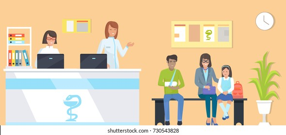 Patients at reception, man with broken arm and family, nurses with computers, room with clock and plant, bench for people on vector illustration