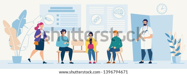 Patients Sitting in Chairs Waiting Appointment Time at Hospital Doctor Consultation Modern Clinic Vector Illustration Man Physician in Uniform Welcoming Visitors Medical Diagnosis for Illness People
