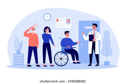 Patients standing in queue in hospital hall. Doctor, clinic, visit flat vector illustration. Medicine and treatment concept for banner, website design or landing web page