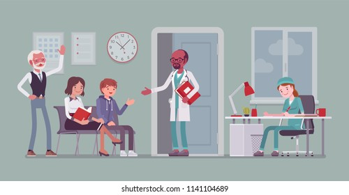 Patients waiting for doctor appointment. Many people in office on arrangement to meet, visit physician for diagnosing, treatment. Medicine, healthcare concept. Vector flat style cartoon illustration