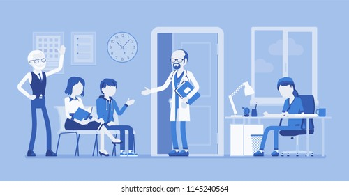 Patients waiting for doctor appointment. Many people in office on arrangement to meet, visit physician for diagnosing, treatment. Medicine, healthcare concept. Vector illustration, faceless characters