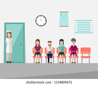 Patients is waiting for the doctor in the waiting room in hospital.Vector illustration.