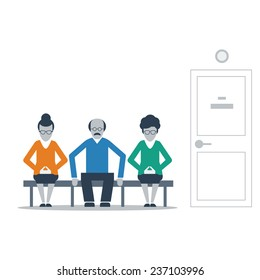 Patients waiting in line in clinic corridor, doctor appointment, awaiting people in queue, medical check up, regular examination, healthcare senior people, vector flat illustration