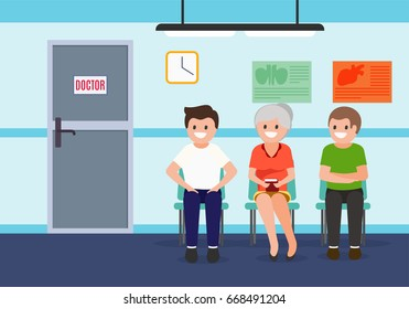 Patients in waiting room in hospital. Health care  and medical illustration. Vector.