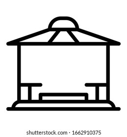 Patio gazebo icon. Outline patio gazebo vector icon for web design isolated on white background