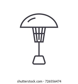 patio heater vector line icon, sign, illustration on background, editable strokes
