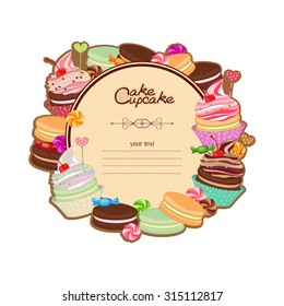 Patisserie background frame with the sketch of sweets, desserts, cake, cake. Illustration with pastries to the menu, bakeries, card