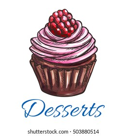 Patisserie dessert emblem. Muffin sketch icon. Vector sweet tart with whipped cream and raspberry topping. Template for cafe menu card, cafeteria signboard, bakery shop label