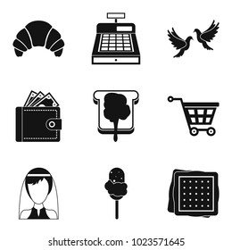 Patisserie icons set. Simple set of 9 patisserie vector icons for web isolated on white background
