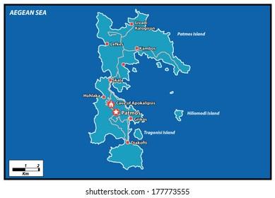 Patmos Island Vector Map Greece.