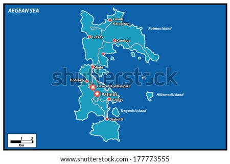 Patmos Island Vector Map Greece Stock Vector Royalty Free