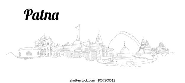Patna city hand drawing panoramic sketching style illustration