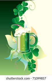 Patrick card. Green beer with clover on green background