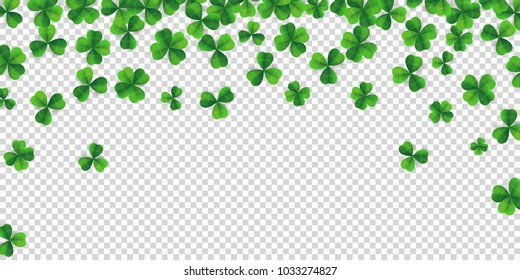 Patrick day background with vector four-leaf clover pattern background. Lucky fower-leafed green background for Irish beer festival St Patrick's day. Vector green grass clover pattern background