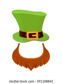 Patrick day icons on white background, green leprechauns hat and red beard, illustration.